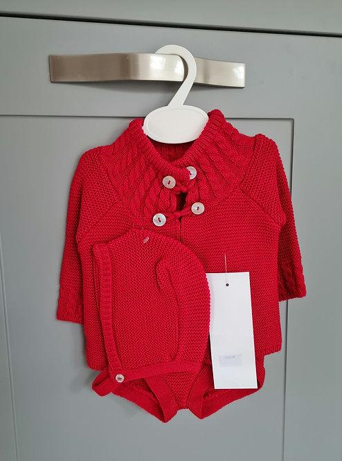 Red Knitted Bonnet & Bloomer Set