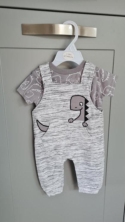 Grey Dinosaur Dungaree T-Shirt Set