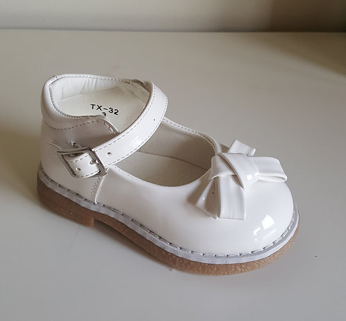 Off White Patent Bow Buckle Hard Sole Shoes