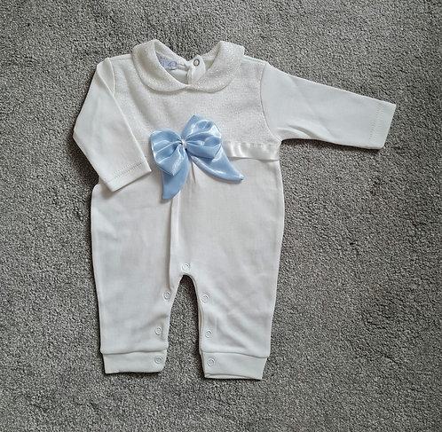 Cream / Blue Bow Sleepsuit
