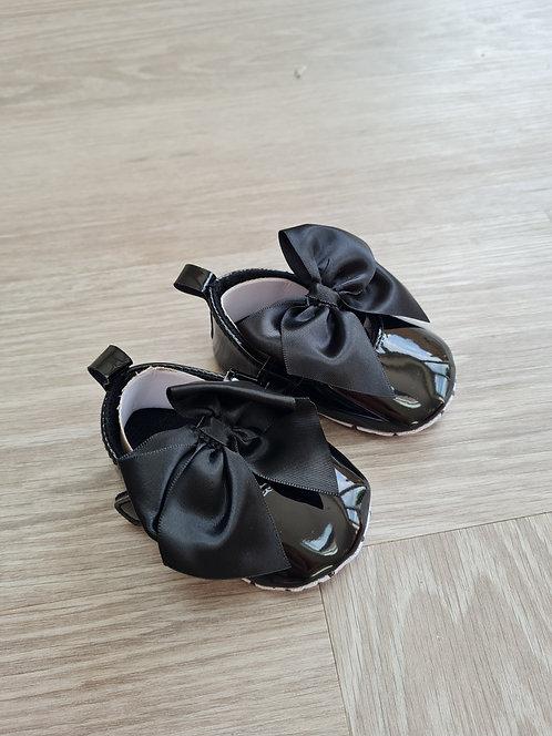 Black Ribbon Bow Soft Sole Shoes