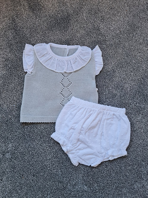 Grey & White Frilly Collar Bloomer Set