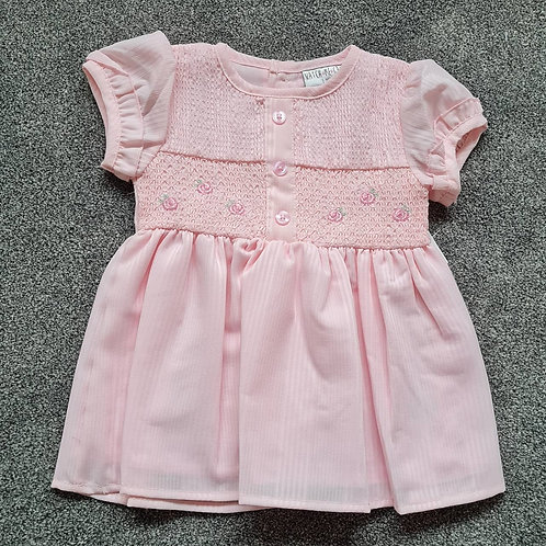Baby Pink Smocked Embroidered Dress