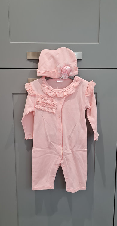 Baby Pink Frilly Sleepsuit & Hat Set