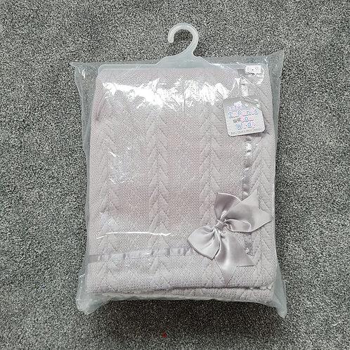 Grey Bow Sherpa Fleece Blanket