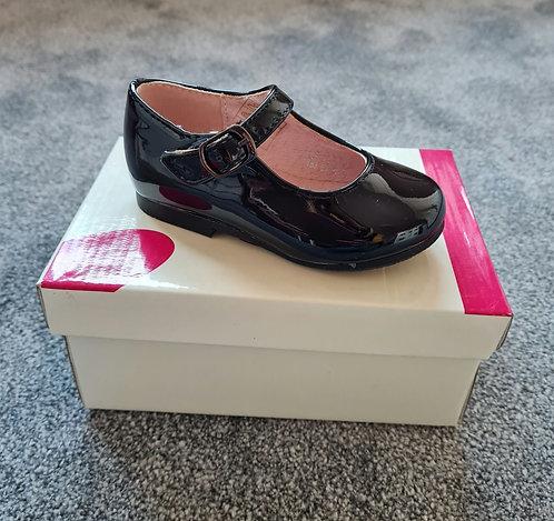 Black Patent Buckle Hard Sole Shoes