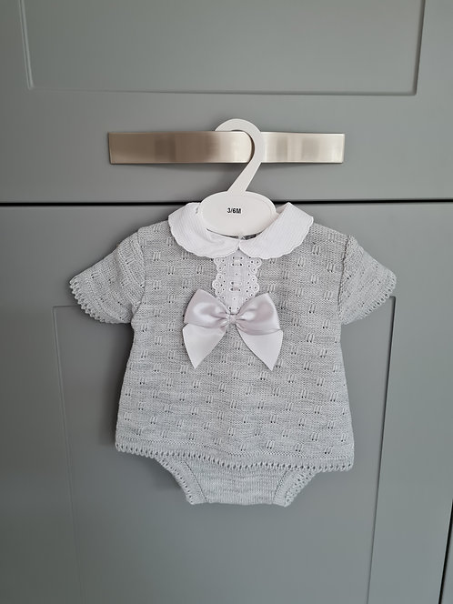 Grey Knitted Bow Bloomer Set