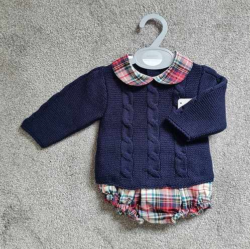 Navy Cable Knitted Jumper & Checked Blommer Set