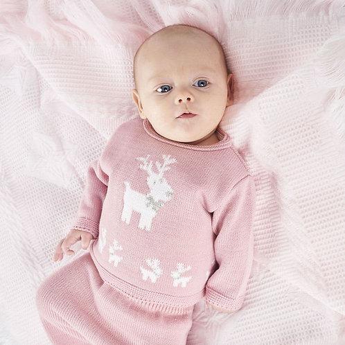 Pink Reindeer Knitted 2 Piece Set