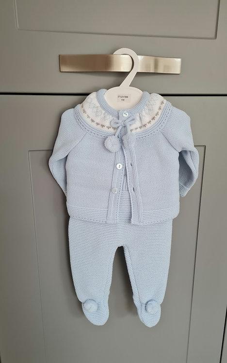 Baby Blue Pom Pom 3 Piece Knitted Set