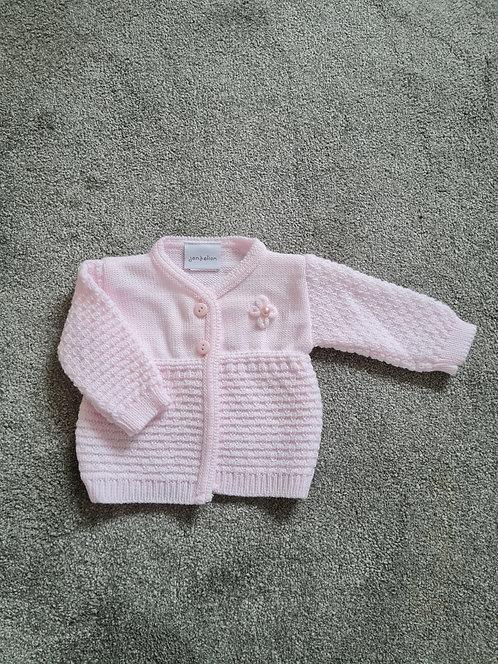 Baby Pink Pearl Flower Detail Cardigan