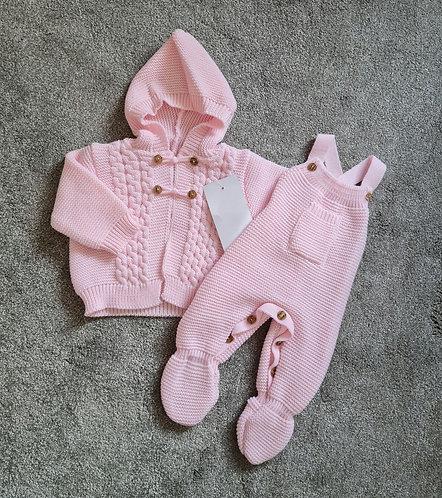 Pink Hooded Cardigan & Dungaree Set