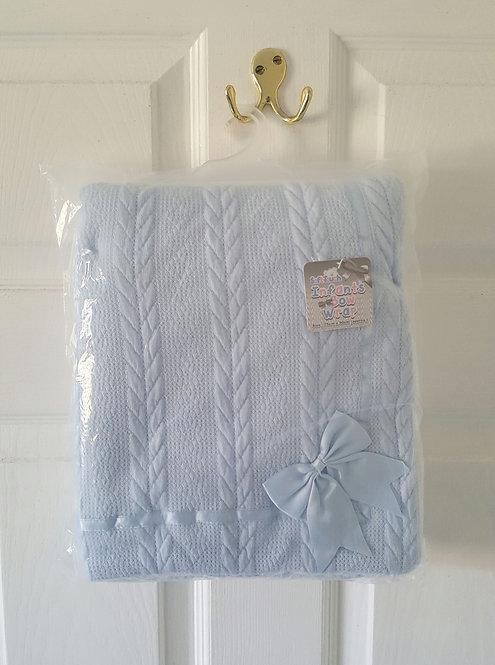 Baby Blue Sherpa Bow Fleece Blanket