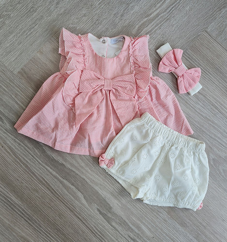 Pink & White Striped Broderie Shorts & Headband Set