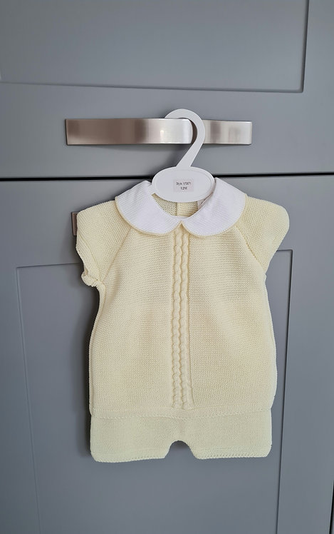 Yellow Collared Knitted Set