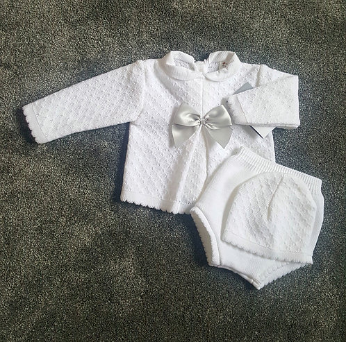 Pure White & Grey Knitted Bow Bonnet Set