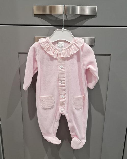 Baby Pink Soft Velour Sleepsuit