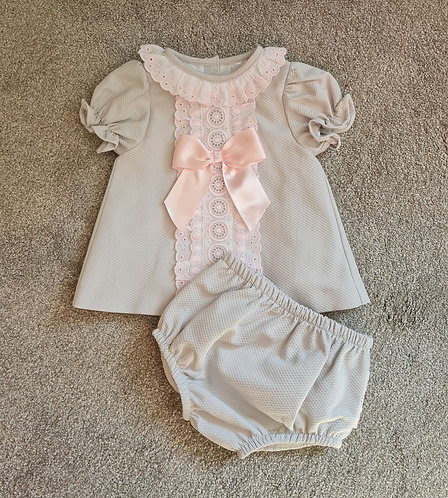 Grey & Pink Lace Bow Bloomer Set