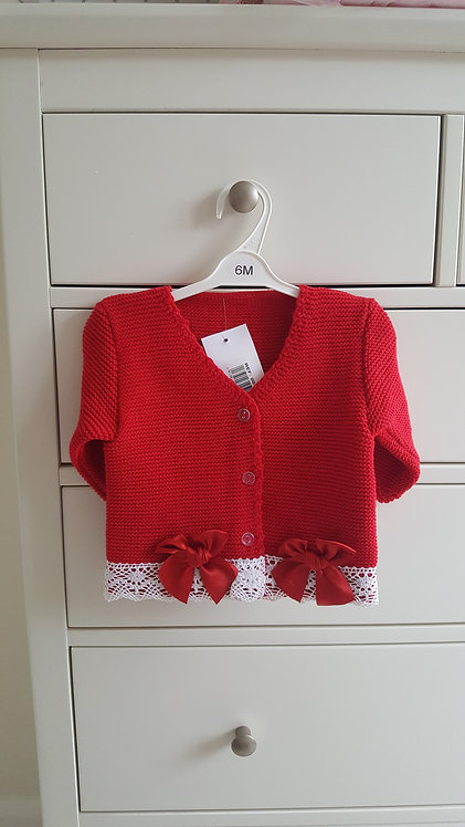 Red Knitted Double Bow Cardigan