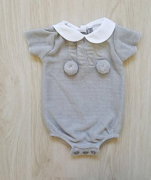 Grey Knitted Collar Pom Pom Romper