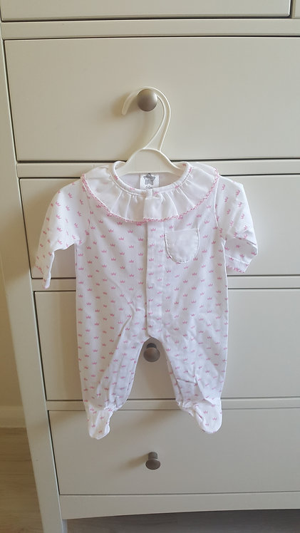 White & Pink Crown Frill Sleepsuit