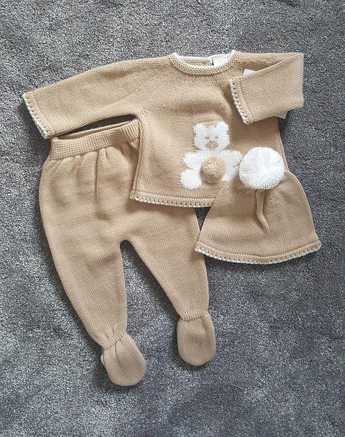 Camel Teddy Bear Knitted Pom Hat Set
