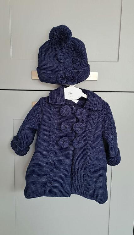 Navy Blue Chunky Knitted Pom Pom Jacket & Hat Set