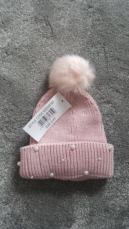 Dusky Pink Fluffy Pom Pom Pearl Hat