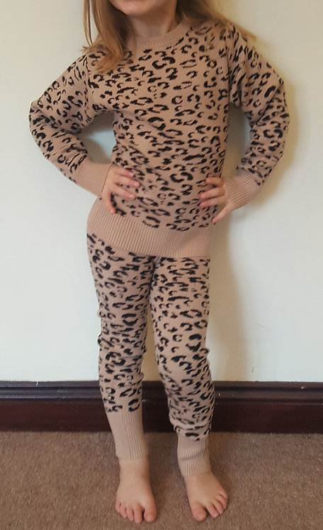 Leopard Print Knitted Lounge Set