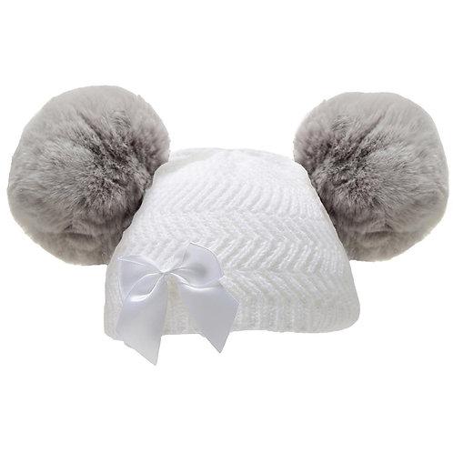 White & Grey Fluffy Double Pom Pom Bow Hat
