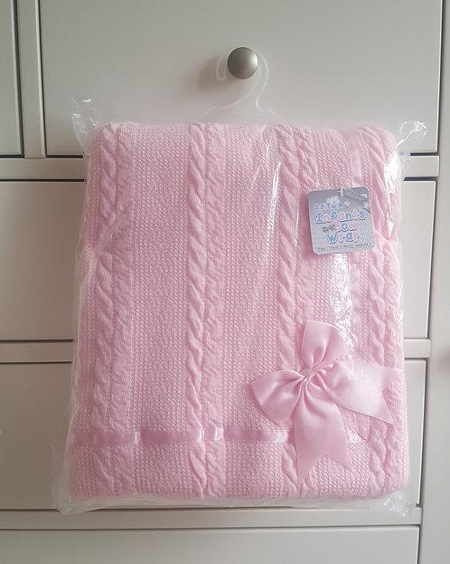Pink Bow Sherpa Fleece Blanket