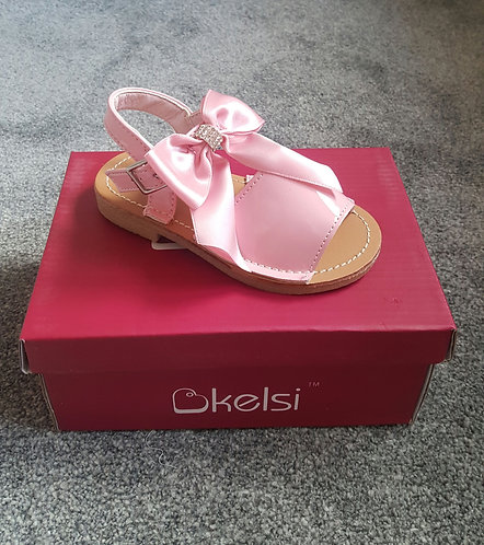 Pink Large Diamante Bow Sandals