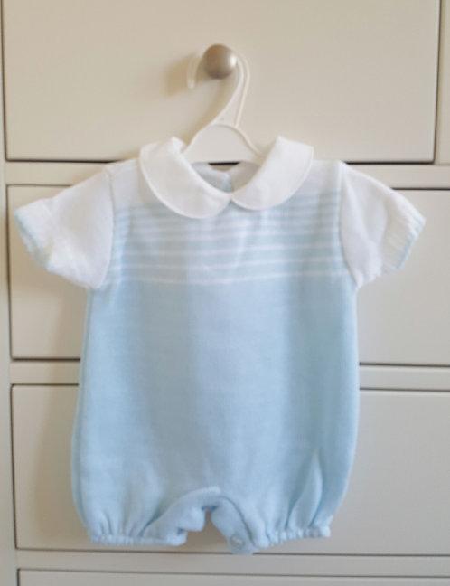 Baby Blue & White Striped Romper