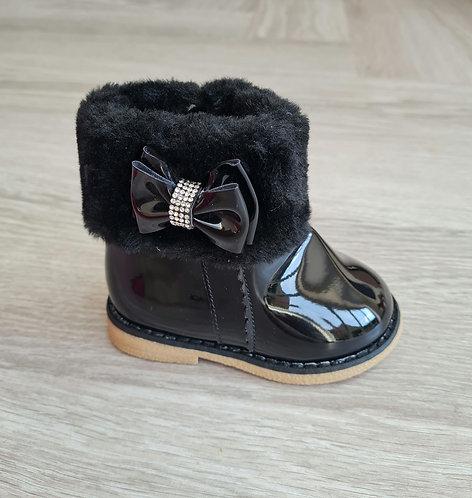 Black Faux Fur Patent Diamante Boots