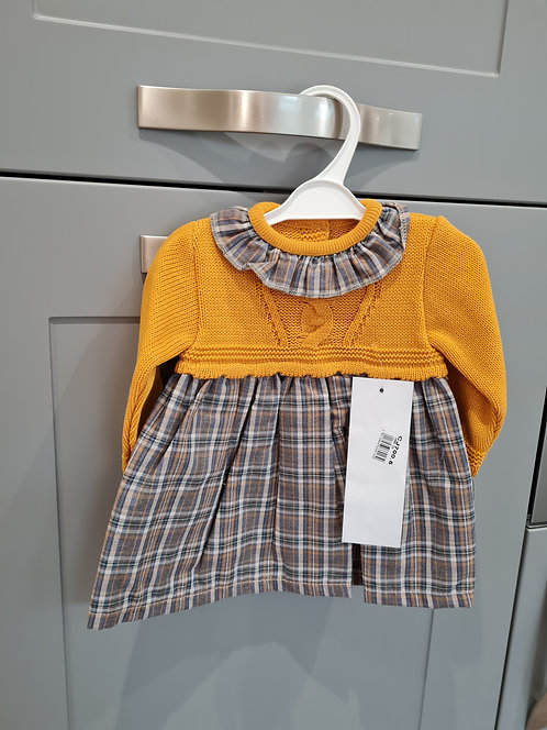 Mustard & Brown Checked Knitted Dress