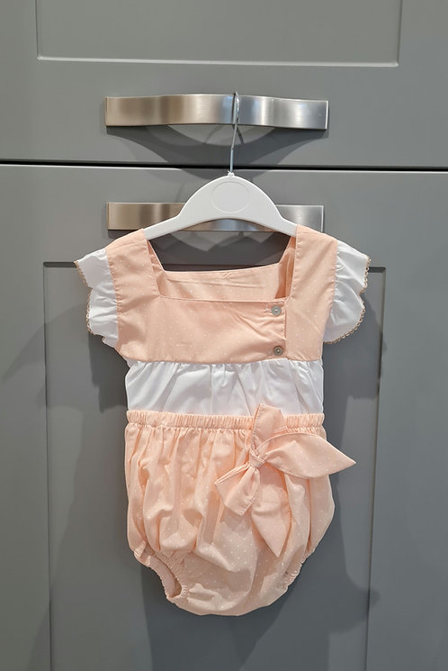 White & Peach Polka Bow Bloomer Set