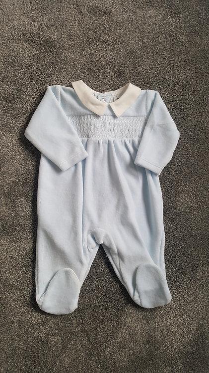 Baby Blue Velour Smocked Sleepsuit
