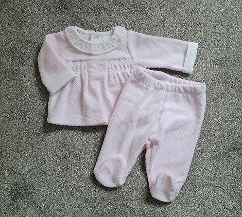 Baby Pink Velour Frill Collar Set