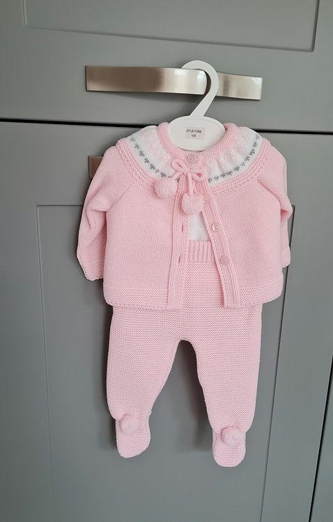Baby Pink Pom Pom 3 Piece Knitted Set