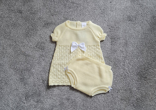 Lemon Yellow Crochet Bow Dress & Bloomer Set
