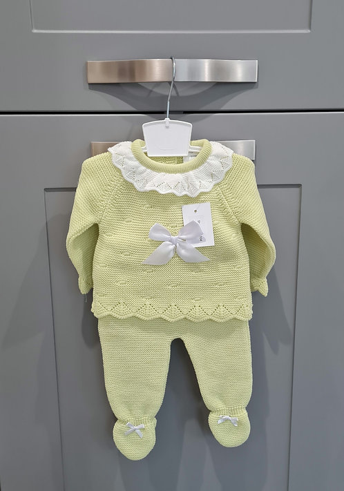 Lime Green Knitted Bow Set