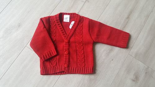 Red V Neck Knitted Cardigan