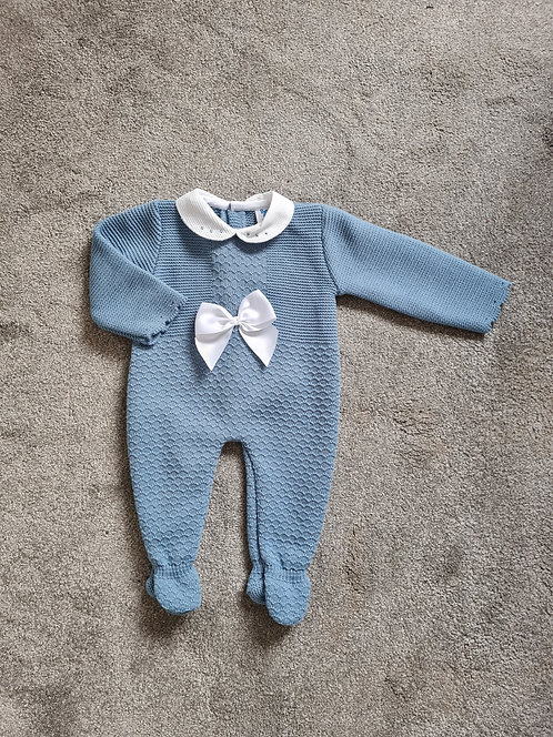 Petrol Blue Knitted Bow Sleepsuit