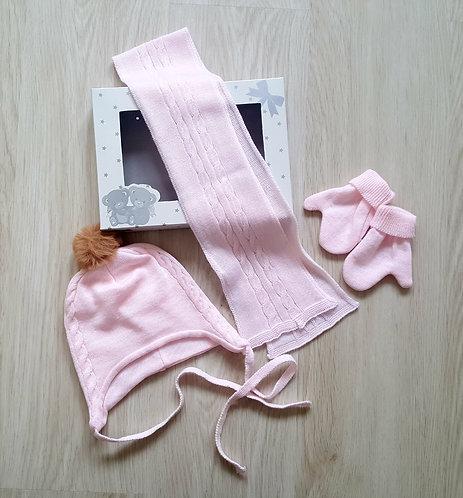 Pink Winter Hat, Scarf & Gloves Set