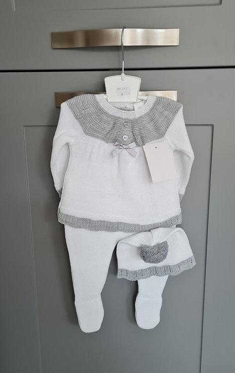 White & Grey Knitted Pom Pom Hat Set