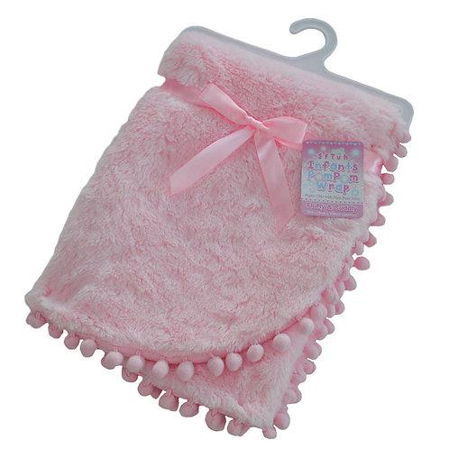 Pink Super Soft Pom Pom Wrap