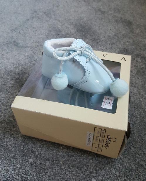 Sevva Baby Blue Pom Pom Soft Sole Shoes