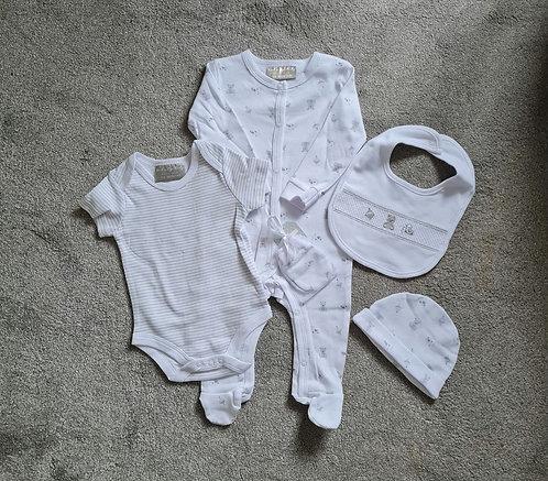 White & Grey Unisex 5 Piece Teddy Bear Gift Set