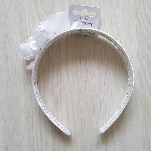 White Satin Effect Flower Headband