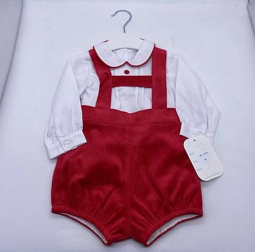 Red Dungaree & White Shirt Set